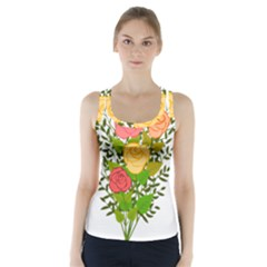 Roses Flowers Floral Flowery Racer Back Sports Top