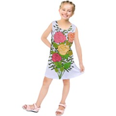 Roses Flowers Floral Flowery Kids  Tunic Dress