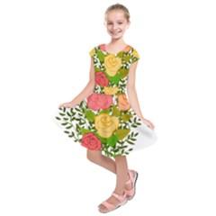Roses Flowers Floral Flowery Kids  Short Sleeve Dress