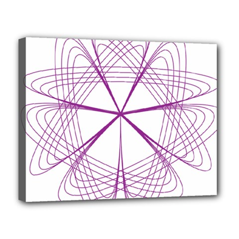 Purple Spirograph Pattern Circle Geometric Canvas 14  X 11