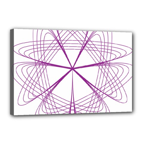Purple Spirograph Pattern Circle Geometric Canvas 18  X 12