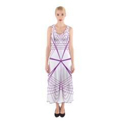 Purple Spirograph Pattern Circle Geometric Sleeveless Maxi Dress