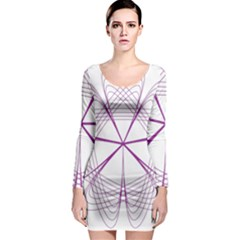 Purple Spirograph Pattern Circle Geometric Long Sleeve Bodycon Dress