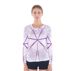 Purple Spirograph Pattern Circle Geometric Women s Long Sleeve Tee