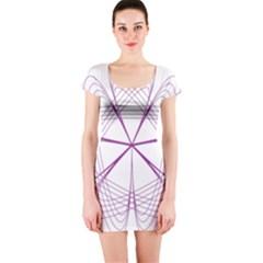 Purple Spirograph Pattern Circle Geometric Short Sleeve Bodycon Dress