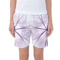 Purple Spirograph Pattern Circle Geometric Women s Basketball Shorts