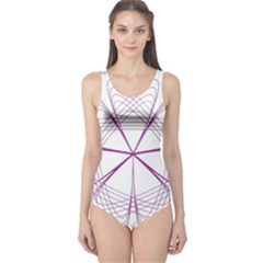 Purple Spirograph Pattern Circle Geometric One Piece Swimsuit