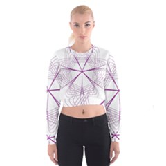 Purple Spirograph Pattern Circle Geometric Cropped Sweatshirt
