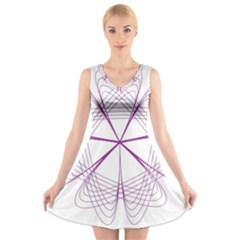 Purple Spirograph Pattern Circle Geometric V Neck Sleeveless Skater Dress