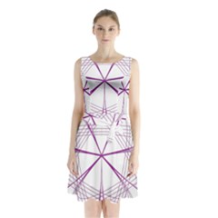 Purple Spirograph Pattern Circle Geometric Sleeveless Waist Tie Chiffon Dress