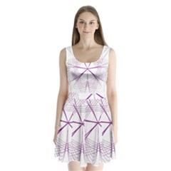 Purple Spirograph Pattern Circle Geometric Split Back Mini Dress