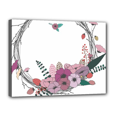 Flowers Twig Corolla Wreath Lease Canvas 16  X 12