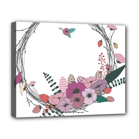 Flowers Twig Corolla Wreath Lease Deluxe Canvas 20  X 16