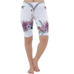 Flowers Twig Corolla Wreath Lease Cropped Leggings