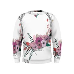 Flowers Twig Corolla Wreath Lease Kids  Sweatshirt