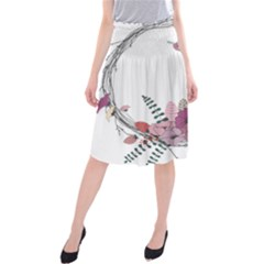 Flowers Twig Corolla Wreath Lease Midi Beach Skirt