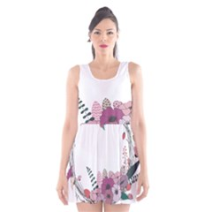 Flowers Twig Corolla Wreath Lease Scoop Neck Skater Dress