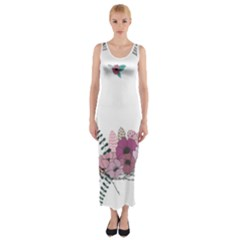Flowers Twig Corolla Wreath Lease Fitted Maxi Dress
