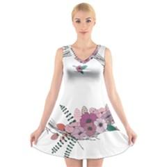 Flowers Twig Corolla Wreath Lease V Neck Sleeveless Skater Dress