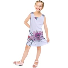 Flowers Twig Corolla Wreath Lease Kids  Tunic Dress