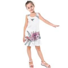 Flowers Twig Corolla Wreath Lease Kids  Sleeveless Dress