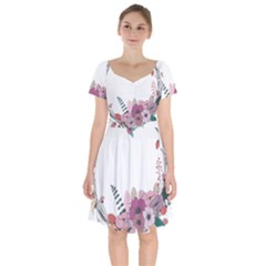 Flowers Twig Corolla Wreath Lease Short Sleeve Bardot Dress