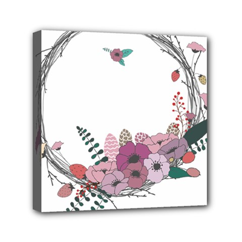 Flowers Twig Corolla Wreath Lease Mini Canvas 6  X 6