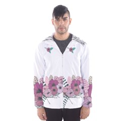 Flowers Twig Corolla Wreath Lease Hooded Wind Breaker (men)