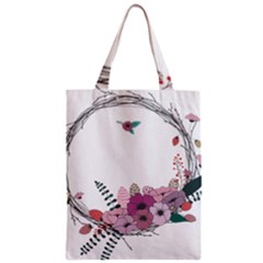 Flowers Twig Corolla Wreath Lease Zipper Classic Tote Bag