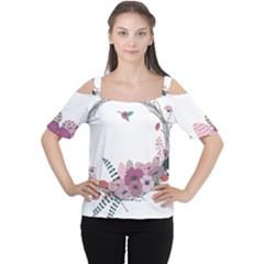 Flowers Twig Corolla Wreath Lease Women s Cutout Shoulder Tee