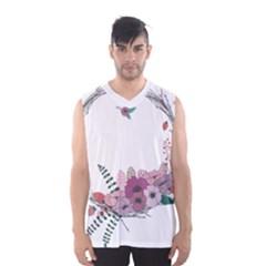 Flowers Twig Corolla Wreath Lease Men s Basketball Tank Top
