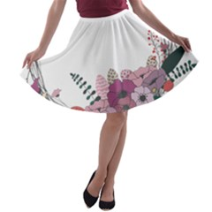 Flowers Twig Corolla Wreath Lease A Line Skater Skirt