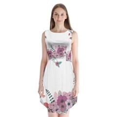 Flowers Twig Corolla Wreath Lease Sleeveless Chiffon Dress