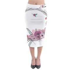 Flowers Twig Corolla Wreath Lease Midi Pencil Skirt