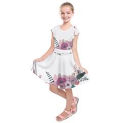 Flowers Twig Corolla Wreath Lease Kids  Short Sleeve Dress