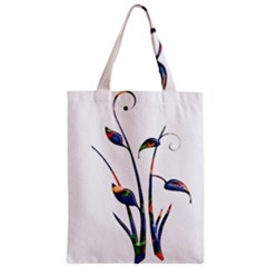 Flora Abstract Scrolls Batik Design Zipper Classic Tote Bag