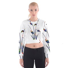 Flora Abstract Scrolls Batik Design Cropped Sweatshirt