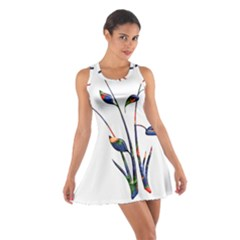 Flora Abstract Scrolls Batik Design Cotton Racerback Dress