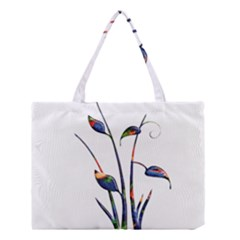 Flora Abstract Scrolls Batik Design Medium Tote Bag