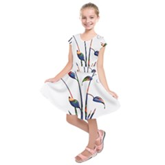 Flora Abstract Scrolls Batik Design Kids  Short Sleeve Dress