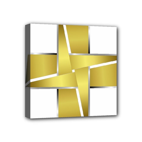 Logo Cross Golden Metal Glossy Mini Canvas 4  X 4