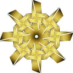 Logo Cross Golden Metal Glossy Folding Umbrellas