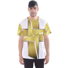 Logo Cross Golden Metal Glossy Men s Sport Mesh Tee