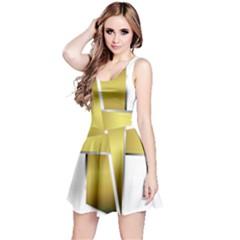 Logo Cross Golden Metal Glossy Reversible Sleeveless Dress