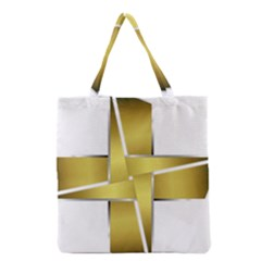 Logo Cross Golden Metal Glossy Grocery Tote Bag