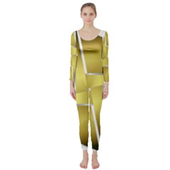 Logo Cross Golden Metal Glossy Long Sleeve Catsuit