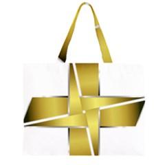 Logo Cross Golden Metal Glossy Large Tote Bag