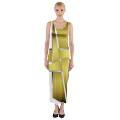 Logo Cross Golden Metal Glossy Fitted Maxi Dress