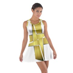 Logo Cross Golden Metal Glossy Cotton Racerback Dress