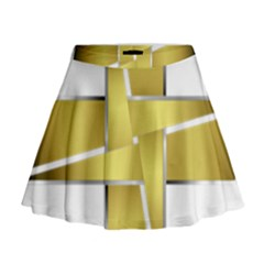 Logo Cross Golden Metal Glossy Mini Flare Skirt